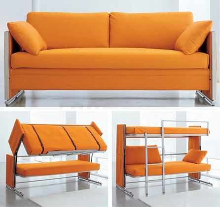 Sofa Converts to Bunk Beds - how very unique!