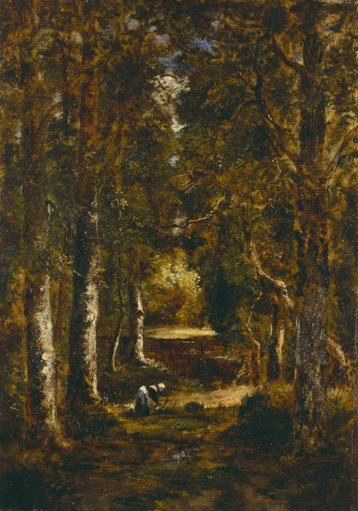 """Narcisse Virgile Diaz de la Peña: """"A Path in the Forest"""", n.d., oil on canvas, Dimensions: 17 1/2 x 12 1/4 in. (44.5 x 31.1 cm) Overall, Frame: 25 1/2 x 20 1/2 x 3 in. (64.8 x 52.1 x 7.6 cm), Current Location: Chrysler Museum of Art, Norfolk, Va."""