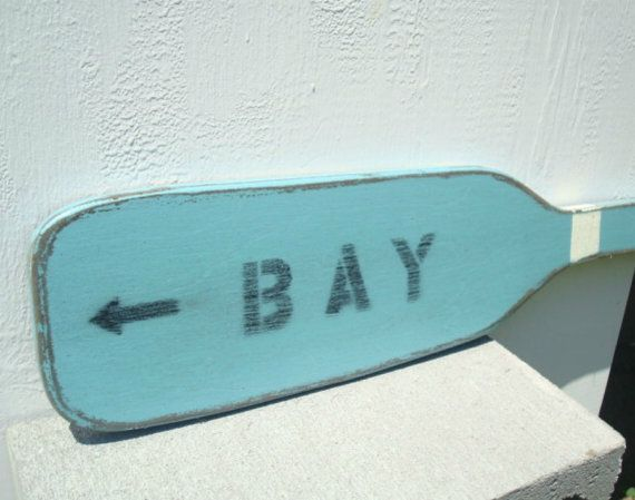BAY boat oar wood paddle by folkybirdsandfish on Etsy