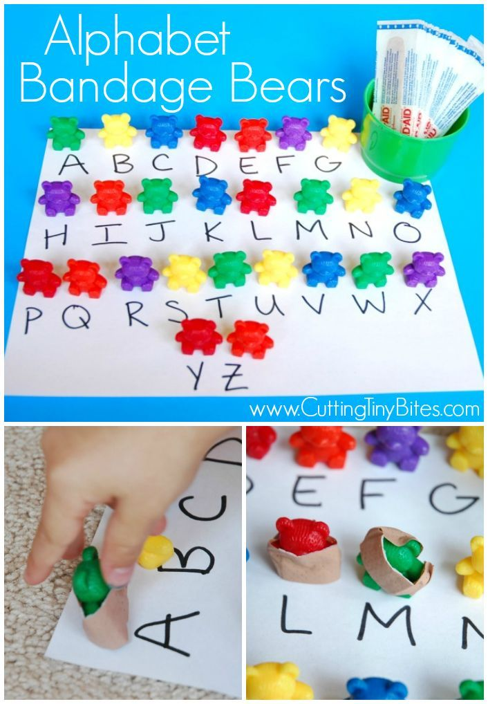 Pre-K alphabet learning game that incorporates fine motor skills with bandages. Perfect for a doctor theme unit preschool week.