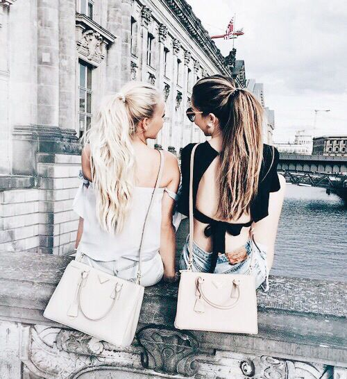 Street style, casual outfit, spring chic, summer chic, friends, ponytails, saffiano bag, white tee, black tee