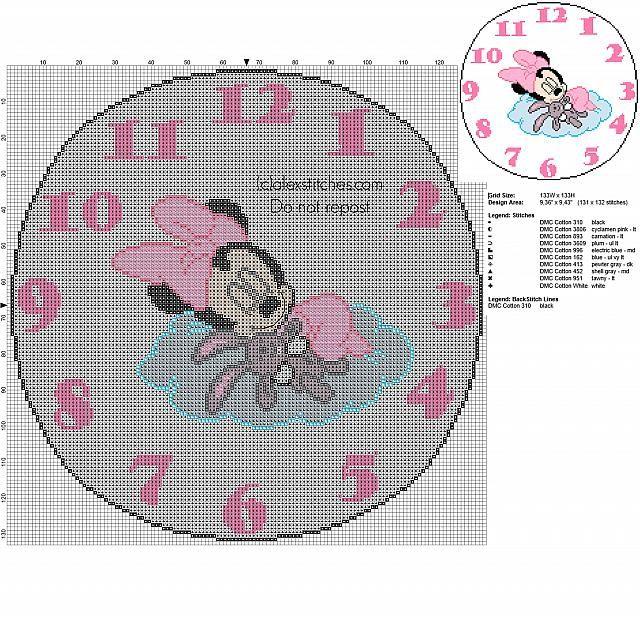 Cross stitch clock with Disney Minnie with teddy bear 130 stitches diameter