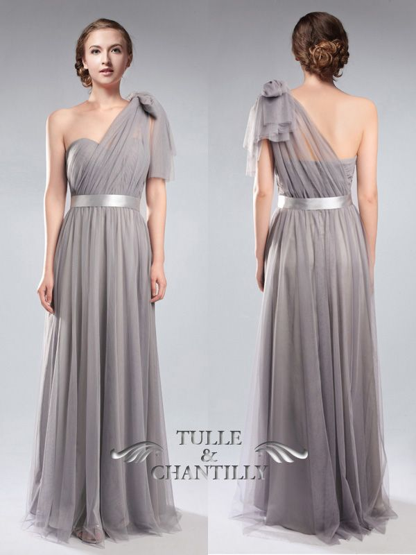 Tulle Convertible Medium Grey Multi Bridesmaid Dresses with One Shoulder