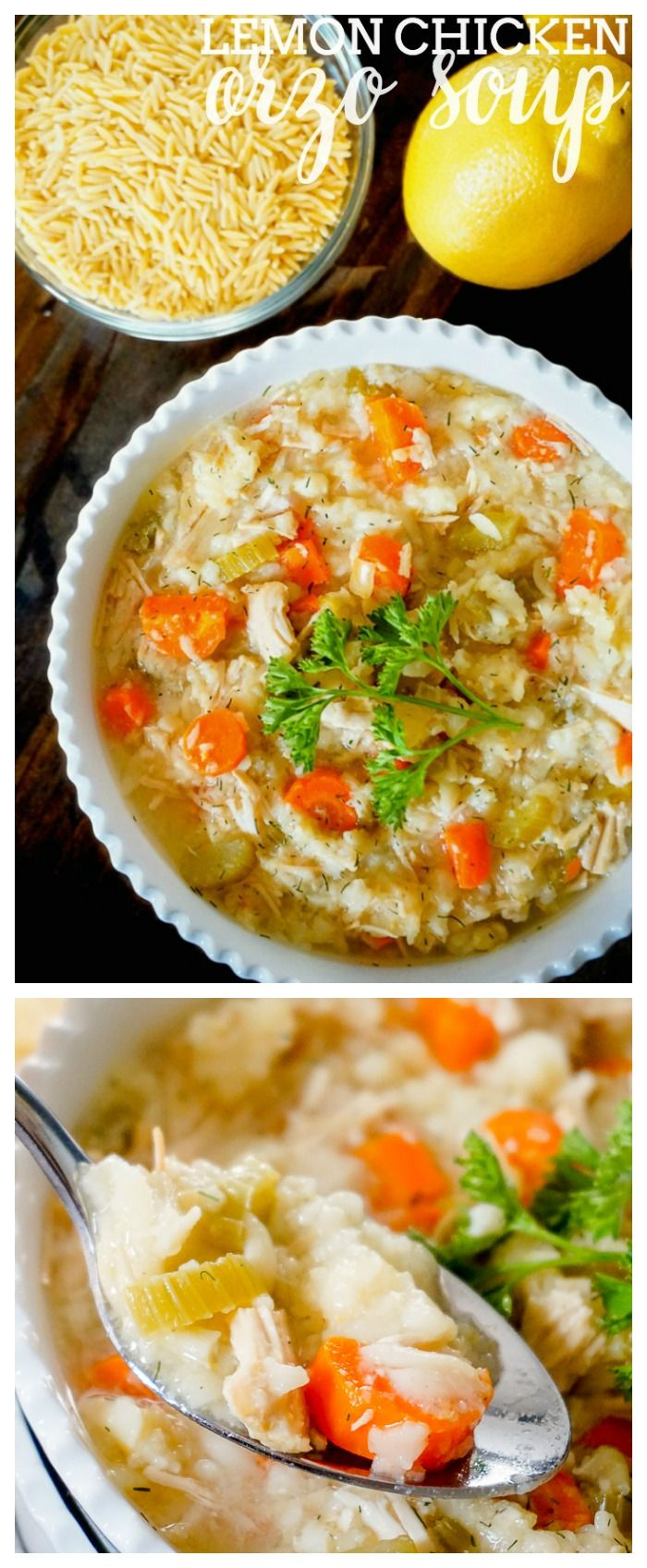 Slow Cooker Lemon Chicken Orzo Soup - A deliciously light and fresh soup recipe inspired by Panera's soup recipe. | The Love Nerds