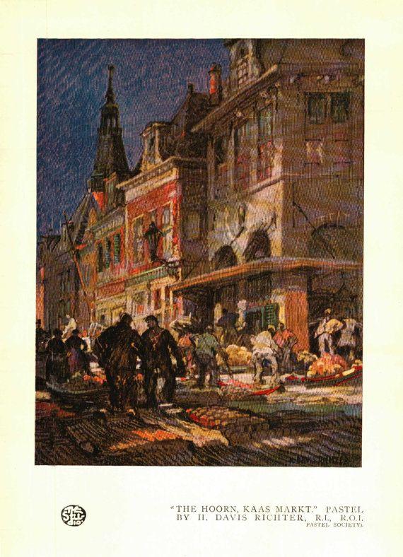 The Hoorn, Haas Market (Fromage Cheese Market) H Davis Richter form the Pastel Studio Magazine 1920s - 0019