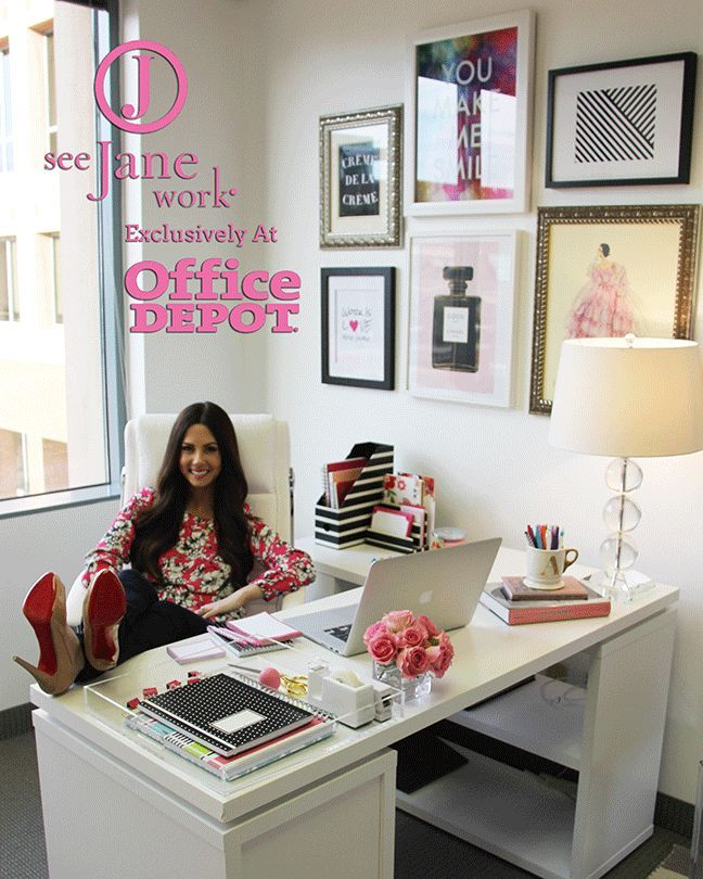 The sorority secrets workspace chic with office depot see for How to decorate desk in office