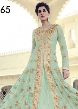 VandV Green Colour Shades With Exceptionally Heavy Zari/Thread Embroidery Anarkali Suit