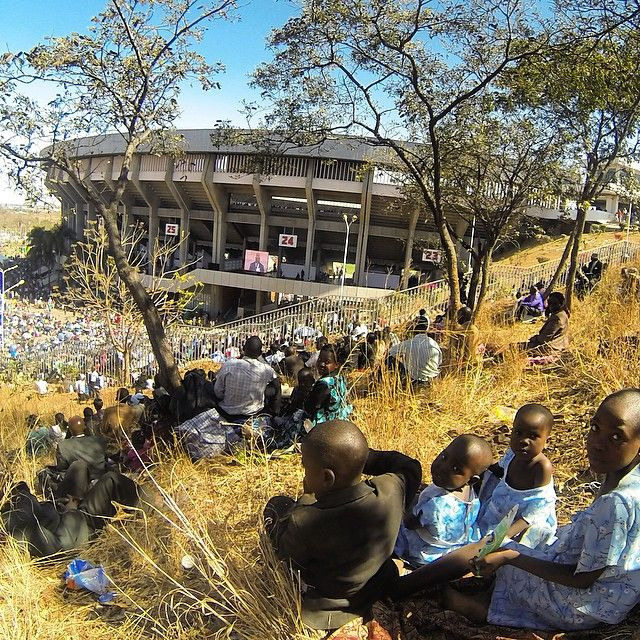 Zimbabwe. The stadium was so overpacked the brothers set up a screen and speakers outside this historic event so that our brothers could get the program! These were the most comfortable seats in the house…