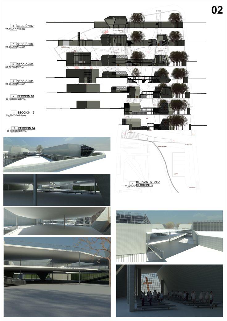 Concurso universitario para Centro ecuménico en Madrid, España. #3D #revit #BIM #sections #views #plans #architecture #ecumenical #center #university #madrid #spain