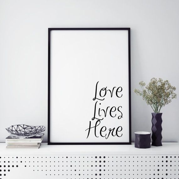 Quote Print Love lives here print home by ButterflyInkDesigns