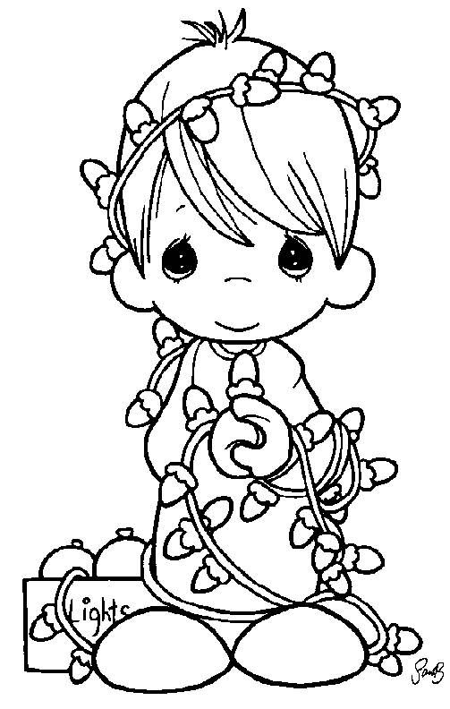 Precious Moments Boy Tangled In Christmas Lights Coloring Page