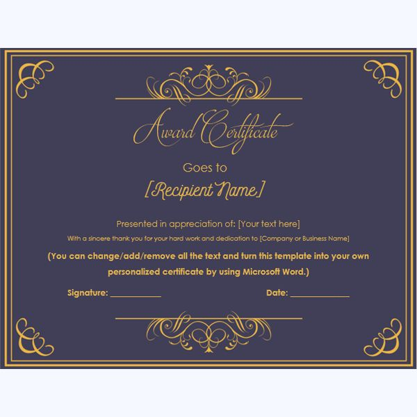 99 best award certificate templates images on pinterest formal award certificate template awardcertificate awardmaker awardcertificateword yadclub Choice Image