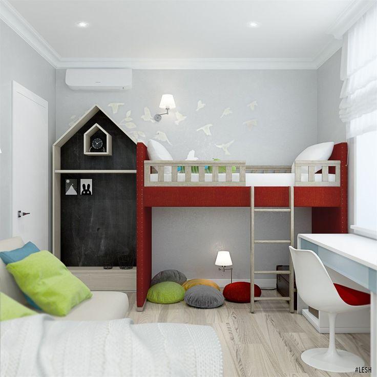 Сказочная детская | Студия LESH (дизайн детской комната, грифельная доска, детская кровать, игровая комната, сказка, яркая, красный, зеленый, синий)