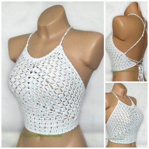 Summer Crochet Top Halter Top Tank Top Crochet by GalinaHandmade