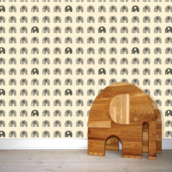 Wallpaper tapet af w:form - Wallpaper Elephant White & Grey