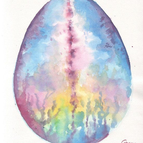 The egg of spring, watercolor painting
