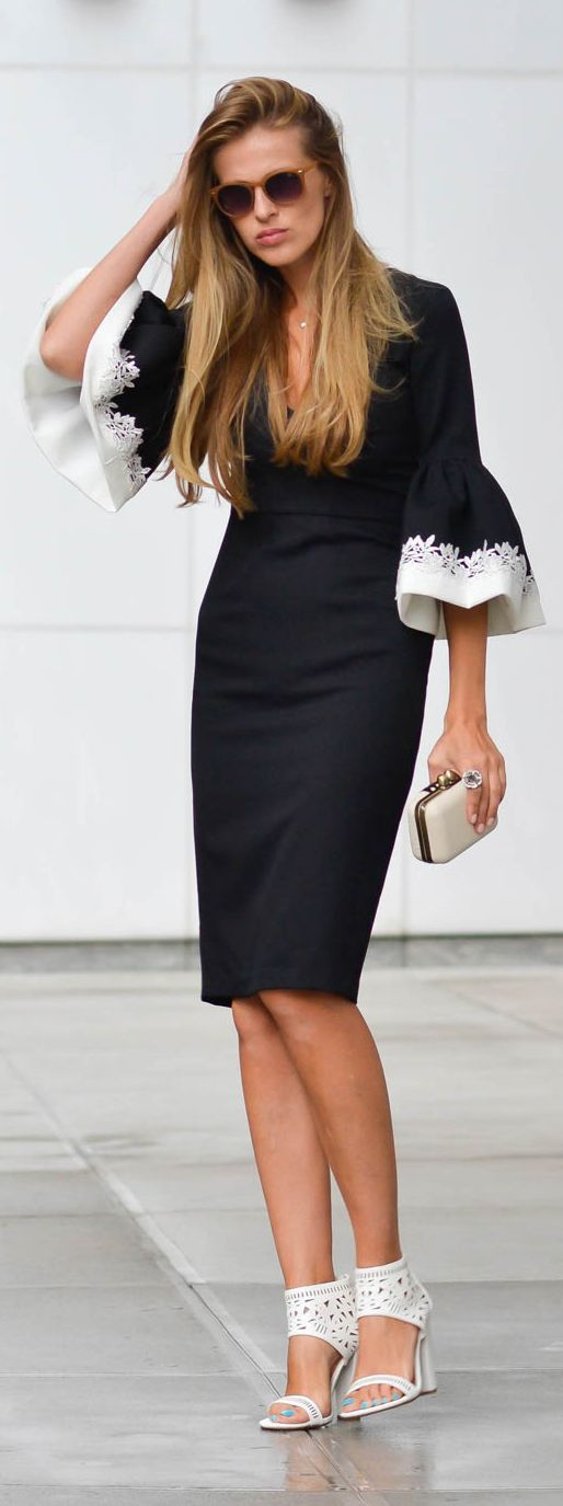 Black And White Body-con Ruffle Sleeve Cuff Midi Dress