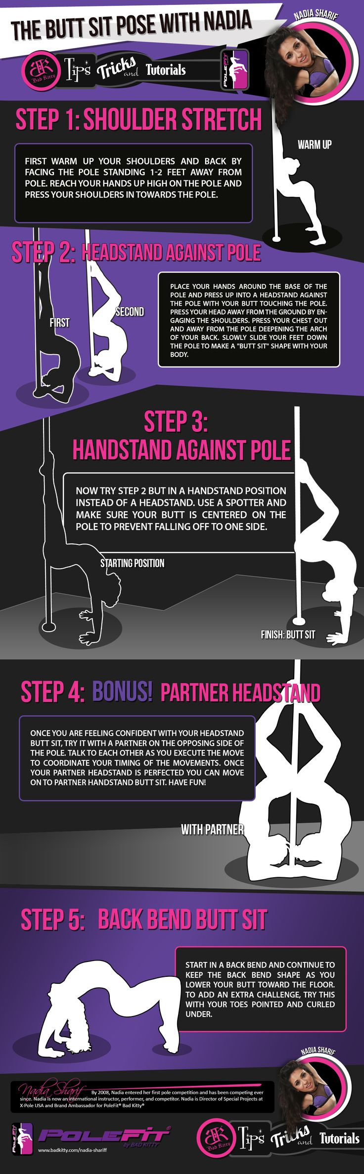We teamed up with our Brand Ambassadors to bring you a series of tips and tricks to help you with your pole training. Here is Tips and Tricks #3: The Butt Sit pose with Nadia Sharif.
