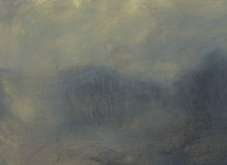 L992 - Nicholas Herbert, British Artist, early morning landscape of a group of trees in the English countryside, mixed media painting 2017.