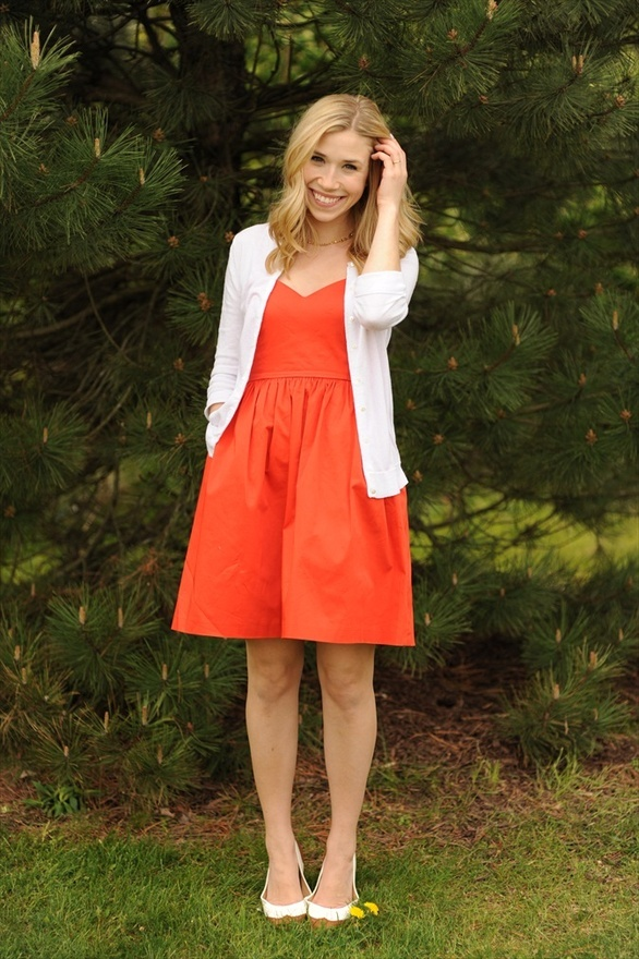 A Gap red dress, as featured on the blog Sidewalk Ready.