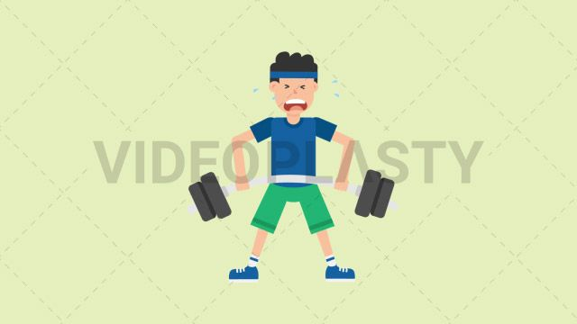 A man wearing a blue t-shirt green shorts and a blue headband is lifting a heavy barbell off the floor. The exercise is called deadlift. Two version are included: normal (with a start animation) and loopable. The normal version can be extended with the loopable version Clip Length:10 seconds Loopable: Yes Alpha Channel: Yes Resolution:FullHD Format: Quicktime MOV