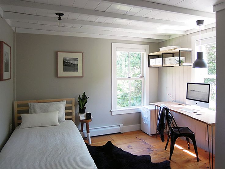 View in gallery Gorgeous guest bedroom that also serves as home office  [Design: Erica Islas / EMI