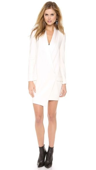 obsessed with this double breasted ivory blazer dress
