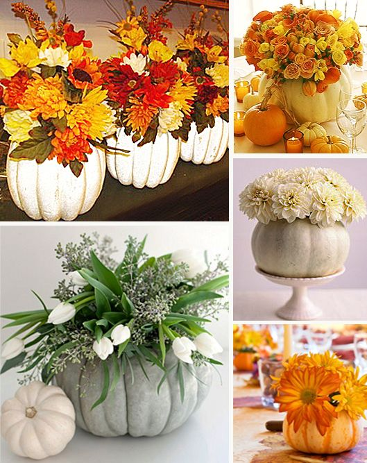 fall wedding decorations with pumpkins | White pumpkins are a perfect substitute for pots and vases for fall ...