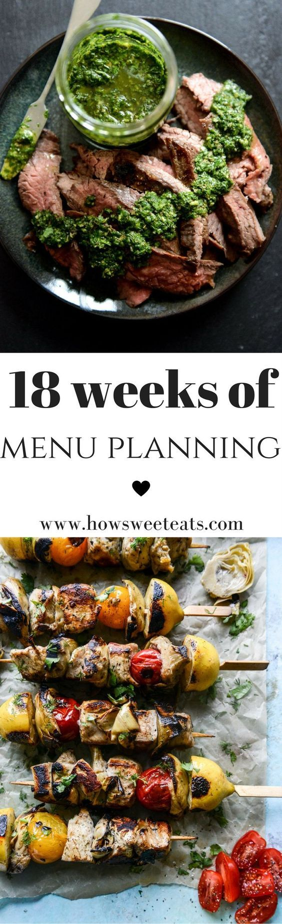 18 weeks of menu plans - 126 lightened up meal ideas! I howsweeteats.com @howsweeteats