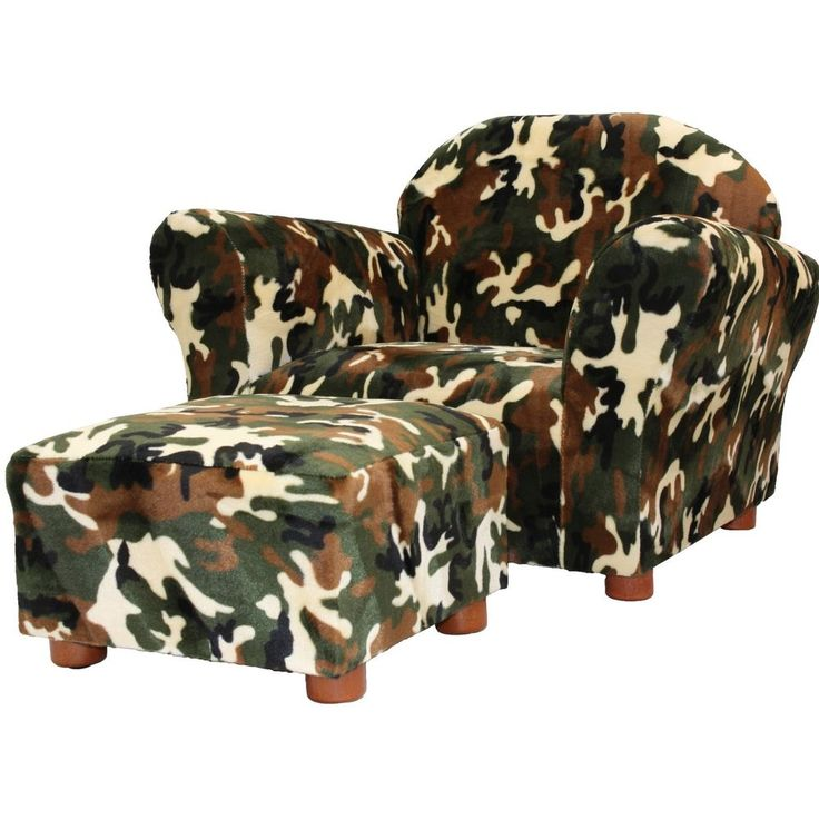 Kids Chair w/ Ottoman Set Camo Living Room Boys Seat Furniture Wood Armchair #kidsarmchair #chair #ottoman #kidsfurniture