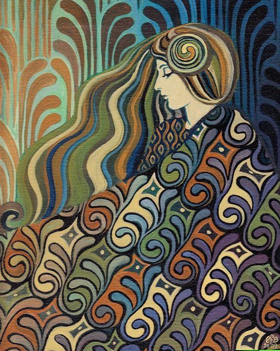 Poster/Prent Jugendstil(-stijl) Vrouw ~Dalia: Art Nouveau Godin van het Lot van Emily Balivet~