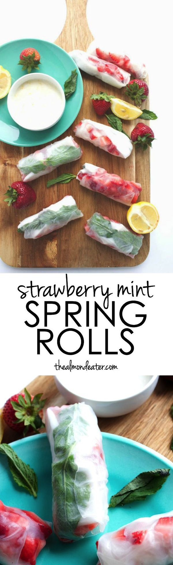 Strawberry Mint Spring Rolls   Strawberries, mint and fresh coconut meat combine in these spring rolls and are dipped in coconut yogurt+lemon zest for a refreshing snack!   thealmondeater.com