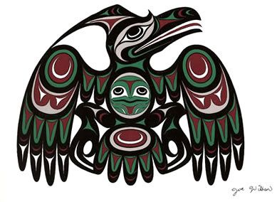 Joe Wilson was born 1967 on Vancouver Island, in British Columbia. Coast. Joe has studied Coast Salish Art extensively and has emerged as one of the most prolific Coast Salish artists today. (carving and painting) We have a print of this painting. E.