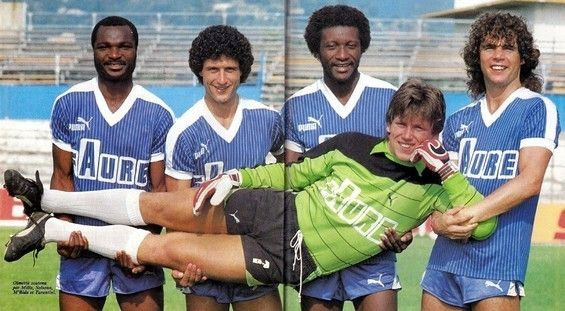 SC Bastia, 1983/1984 season : Roger Milla (SC Bastia, 1980–1984, 113 apps, 35 goals), Daniel Solsona (SC Bastia, 1983–1986, 86 apps, 9 goals), Grégoire M'Bida (SC Bastia, 1982-1984, 59 apps, 3 goals), Alberto Tarantini (SC Bastia, 1983-1984, 29 apps, 1 goal) and goalkeeper Pascal Olmeta (SC Bastia, 1981-1984, 48 apps, 0 goal).