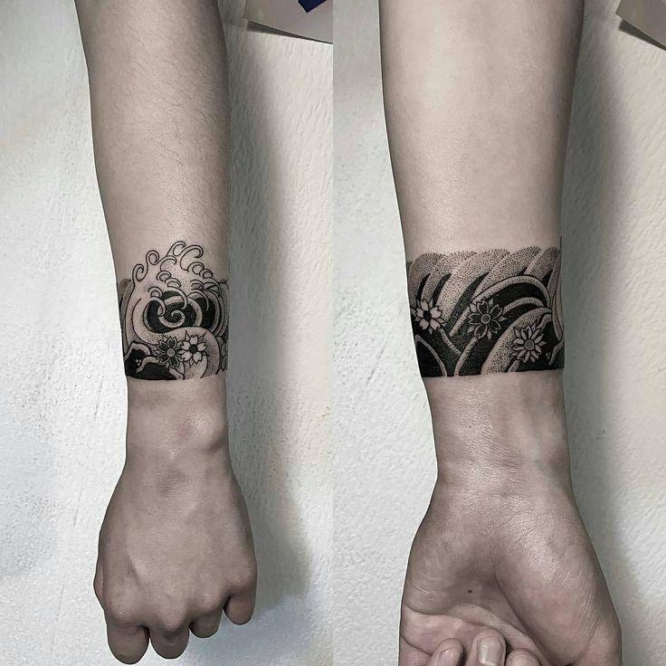 Japanese wave cuff by oozy_tattoo -