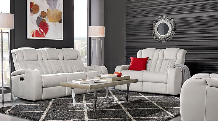 Servillo White Leather 2 Pc Living Room Leather Living