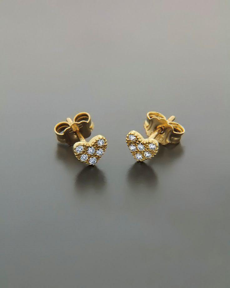 Σκουλαρίκια καρδιές χρυσά Κ14 με Ζιργκόν