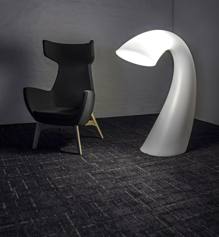Setting the mood. Our Carm highback with the Swan XL light sitting on signaturefloors strike carpet.