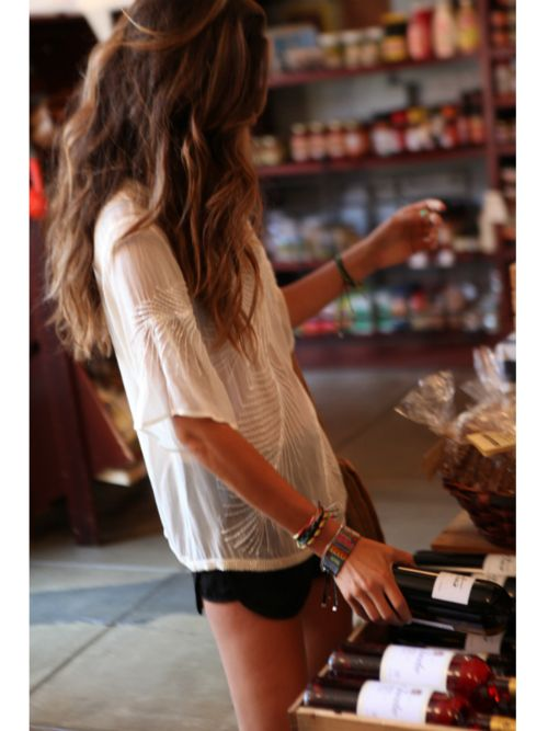 hair + top: Beaches Hair, Black Shorts, Laid Back Style, Summer Outfit, Messy Hair, Red Wine, Summer Style, Summer Tops, White Tops