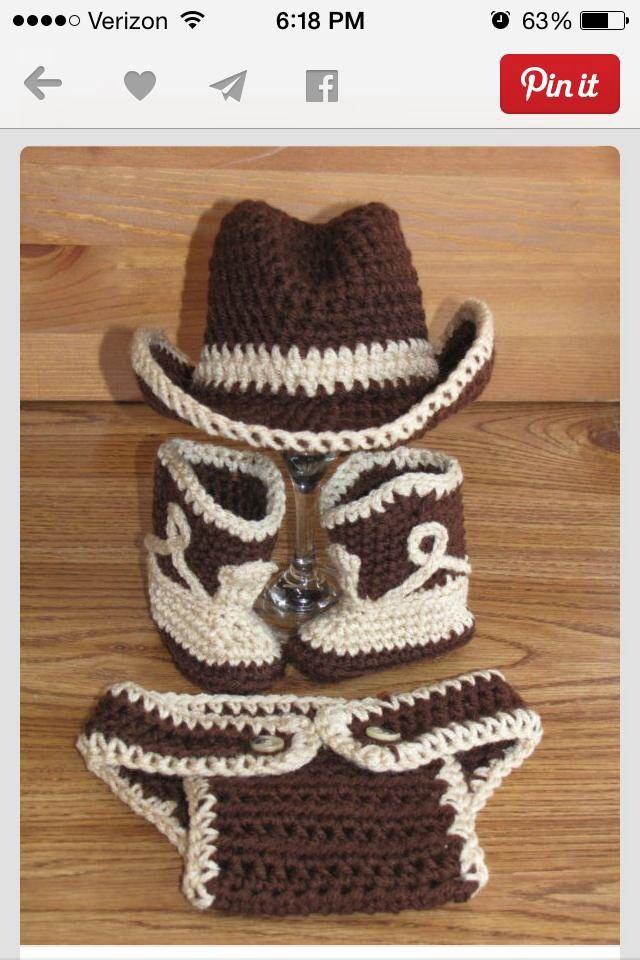 Moderno Patrón De Crochet Libre Sombrero De Vaquero Del Bebé Cresta ...