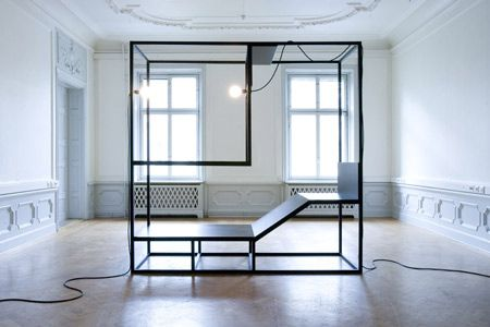 """Mobile is a furniture installation created by artists Christan Halleröd and Johannes Svartholm for non-profit arts company Mossutställningar. The installation consists of four frames containing basic furniture forms. """"The four pieces are used separately or in formations so as to create variations such as a room, function as room dividers, a stage, complex sculptural structures"""