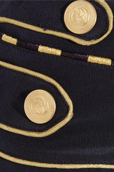 Pierre Balmain - Washed-silk Wide-leg Pants - Navy - FR40