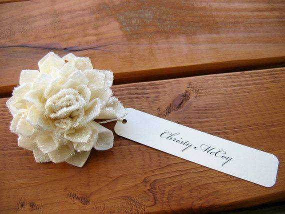 20 Bling Wedding Place Cards, Cream Place Cards, Wedding Name Cards, Bridal Shower Place Cards. $60.00, via Etsy.