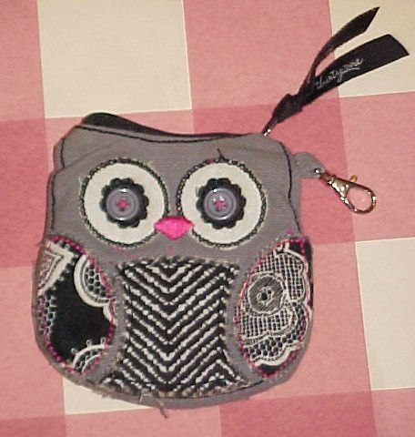 "CUTE LITTLE 4"" BY 4"" CLOTH THIRTY ONE OWL ZIPPERED COIN PURSE CLEAN!"
