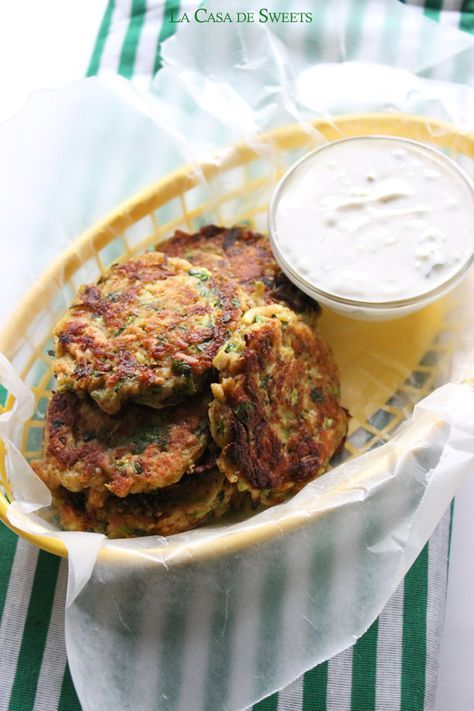 "Poor Man's Zucchini ""Crab"" Cakes with Homemade Tartar Sauce, the perfect crab-less crab cake!"
