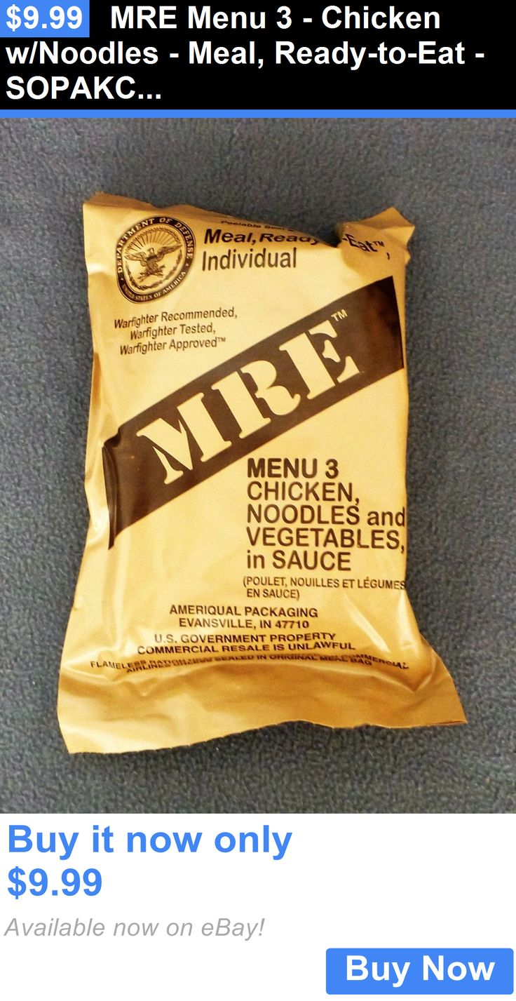 Food And Drink: Mre Menu 3 - Chicken W/Noodles - Meal, Ready-To-Eat - Sopakco Survival Food BUY IT NOW ONLY: $9.99