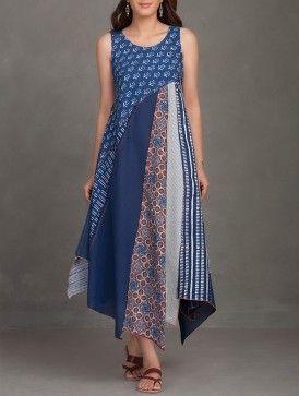 Indigo Block Printed Thread Embroidered Upcycled Organic Cotton Dress