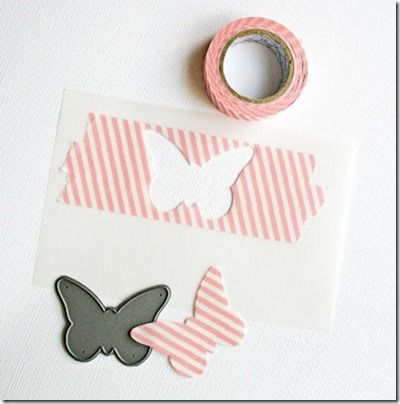 Die-cut shapes cut from strips Washi Tape