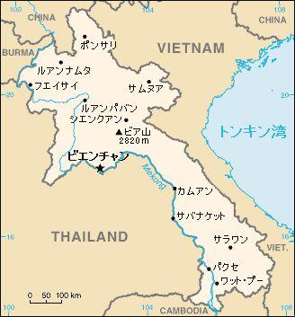 日本語版のラオス地図