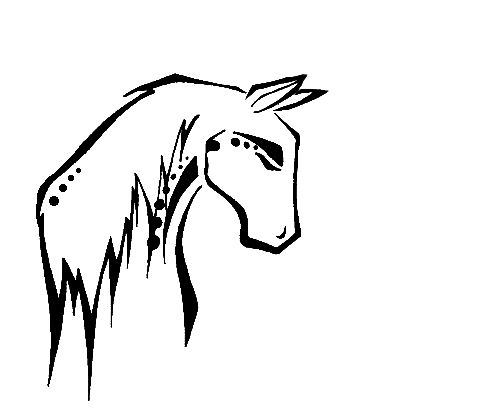 Native looking horse tattoo.. then with watercolor would be really pretty...